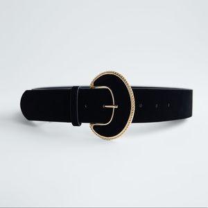 Round Buckle Velvet belt